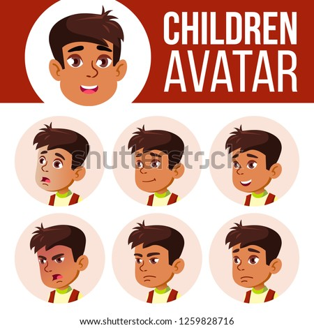 Arab, Muslim Boy Avatar Set Kid Vector. Primary School. Face Emotions. User, Character. Leisure, Smi Stock photo © pikepicture