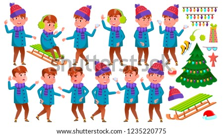 Boy Kid Poses Set Vector. Winter Holidays. Activity. Positive Child. For Postcard, Announcement, Cov Stock photo © pikepicture