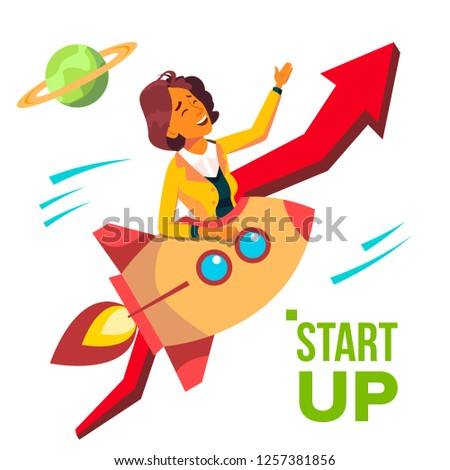 Startup Vector. Rocket Soars Up On Background Of Red Arrow Growthing Up. Business Woman Enjoying Goo Stock photo © pikepicture