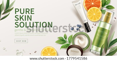 Cosmetic Bottle Product Vector. Marketing Ads. Facial Care. Beauty Bckground. Jar Blank. 3D Mockup R Stock photo © pikepicture