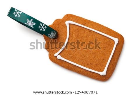 Zencefilli çörek etiket kurabiye şerit yalıtılmış beyaz Stok fotoğraf © Bozena_Fulawka