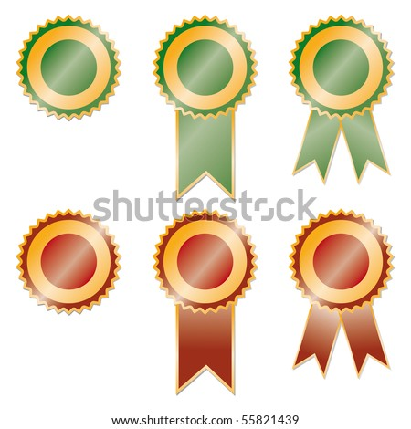 Red Award Ribbon Vector. Champion Medal. Honor Icon. Retro Element. 3D Realistic Illustration Stock photo © pikepicture