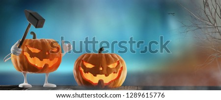 halloween · funny · mal · martillo · calabaza · de · halloween · naranja - foto stock © Wetzkaz