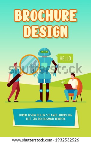 Robot with magnifier and programmer with laptop vector illustration. Stock photo © RAStudio