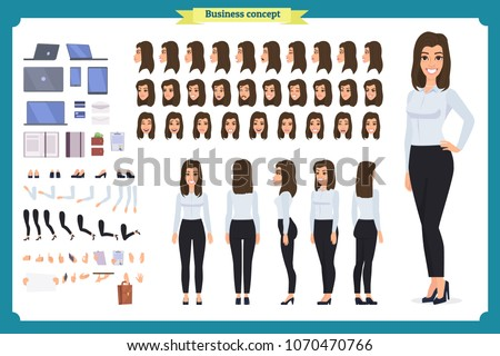 Businesswoman character set. Animate character. Young lady personage constructor. Different woman po stock photo © bonnie_cocos