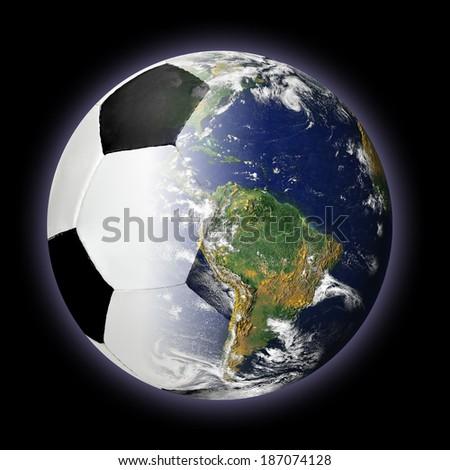 Foto stock: Balón · de · fútbol · mundo · tierra · aislado · blanco · planeta · tierra