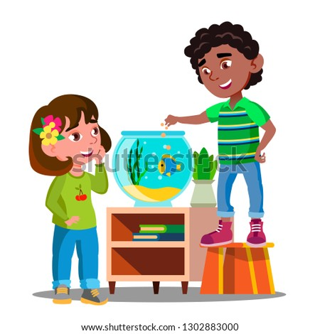 Stock photo: Afro American Boy And White Girl Whatch And Feed Fish In Aquarium Together Vector. Isolated Illustra