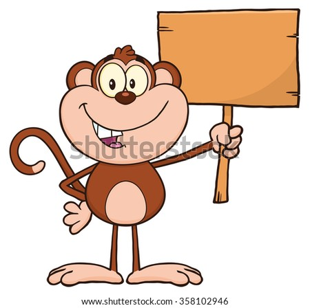 Smiling Monkey Cartoon Character Holding Up A Blank Wood Sign Stock photo © hittoon