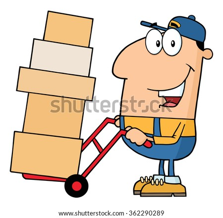 Delivery Man Cartoon Character Using A Dolly To Move Boxes With Speech Bubble Stock photo © hittoon