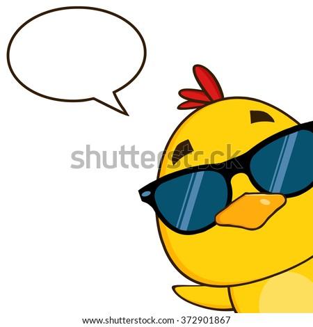Stock photo: Smiling Yellow Chick Cartoon Character Peeking Around A Corner With Text