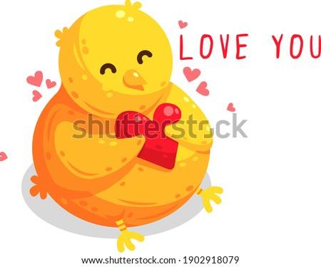 Cute Yellow Chick Cartoon Character Holding Valentine Love Heart Stock photo © hittoon