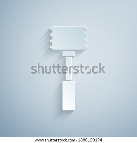 Steel kitchenware for cutting meat isolated on a gray background with shadows, place for text. Stock photo © artjazz