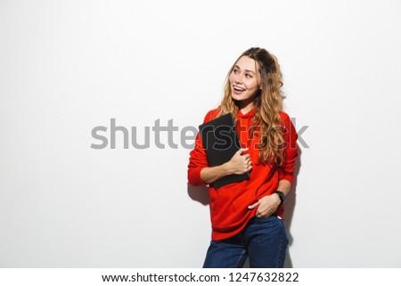 Imagem adorável mulher 20s vermelho Foto stock © deandrobot