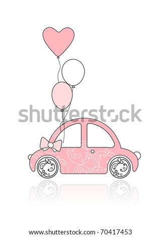 Pink female car with balloons for your design. Retro car. little pink Classic American Vintage Pink  stock photo © bonnie_cocos