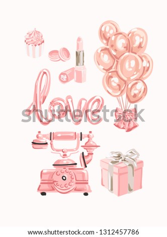 Tomantic set of female objects. Good for wrapping, card or poster. Rose gold set of different access stock photo © bonnie_cocos