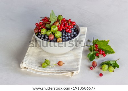 Fresh raw organic berries in white ceramic bowl plate on kitchen table background. Space for text. T Stock photo © DenisMArt
