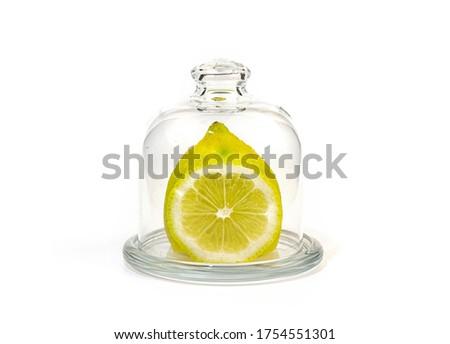 ストックフォト: カット · 新鮮な · レモン · ガラス · ドーム