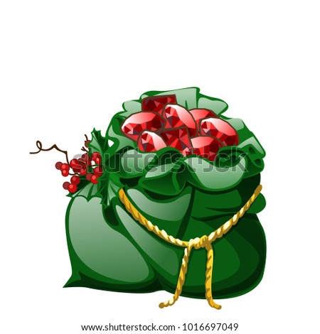 Green velvet sack tied with a golden rope with red berries of holly filled with precious stones rubi Stock photo © Lady-Luck