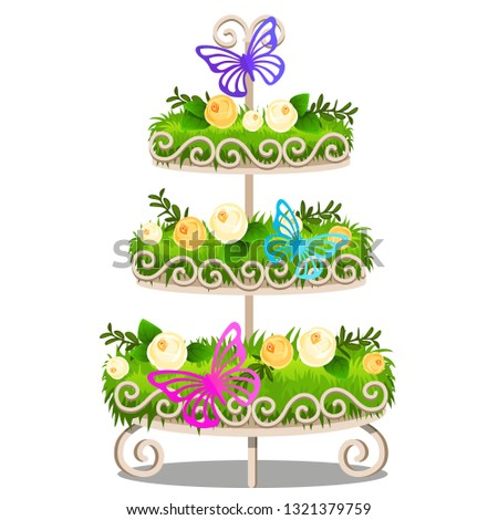 elegant tiered shelf with decorated shelves green grass flowers butterflies elements of vintage stock photo © lady-luck