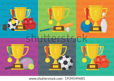 baseball game award set vector baseball ball golden cup modern baseball tournament design for sp stock photo © pikepicture