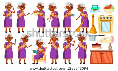 Indian Old Woman Poses Set Vector. Elderly People. Senior Person. Aged. Beautiful Retiree. Life. Des Stock photo © pikepicture