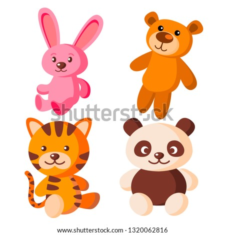 children soft toys vector bear tiger hare panda isolated flat cartoon illustration stock photo © pikepicture