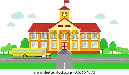 Stock photo: High School Building Vector. Classic. Isolated Flat Cartoon Illustration