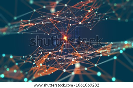 технологий · искусственный · интеллект · пространстве · сеть · футуристический · многоугольник - Сток-фото © rastudio