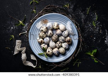 uova · nido · nero · rustico · legno · Pasqua - foto d'archivio © dash