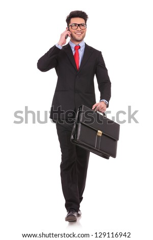 Man In Business Suit With A Briefcase And A Smartphone Slipped On A Banana Peel Vector Flat Cartoon  Stock photo © pikepicture