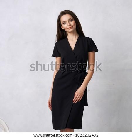 estudio · retrato · morena · nina · vestido · negro - foto stock © studiolucky