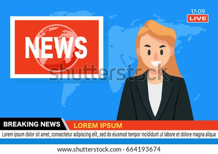 Anchorman on tv broadcast news. Breaking News vector illustration. Media on television concept. News Stock photo © makyzz
