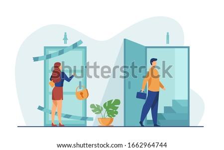 Lépcsőház zárva ajtó 3d illusztráció fény tanulás Stock fotó © limbi007