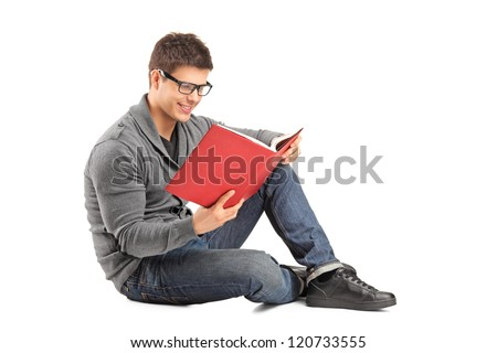 diák · olvas · könyv · mosolyog · derűs · férfi - stock fotó © rastudio