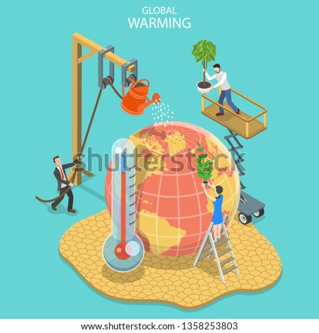 Isometric flat vector concept of global warming, climate change. Stock photo © TarikVision