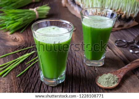 Two shots of barley grass juice with fresh and powdered barley grass Stock photo © madeleine_steinbach