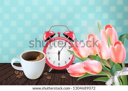 Sabah fincan kahve vektör gerçekçi lâle Stok fotoğraf © frimufilms