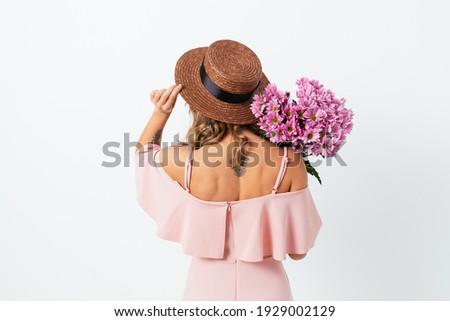 Jong meisje tattoo boeket elegante roze Stockfoto © artjazz