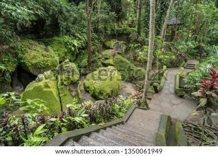 green garden at goa gajah elephant cave temple near ubud bali stock photo © boggy