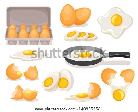 Eier Set gekocht Karton Paket Stock foto © MarySan