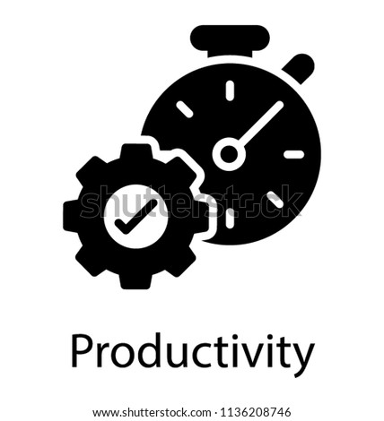 Cogwheel with approval sign and alarm clock, productivity concept. Vector illustration isolated on w Stock photo © kyryloff