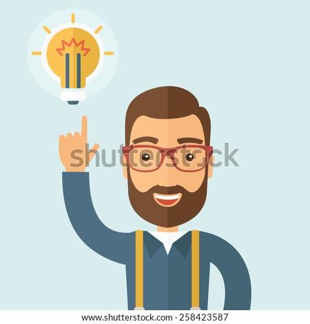 Empresário barba indicação bulbo negócio feliz Foto stock © makyzz