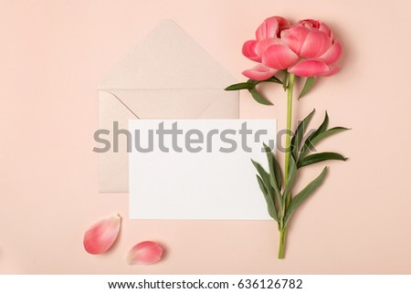 Saluto post carta fiori petali busta Foto d'archivio © artjazz