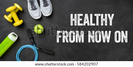 Fitness equipment on a dark background - Lose weight now - Jetzt Stock photo © Zerbor