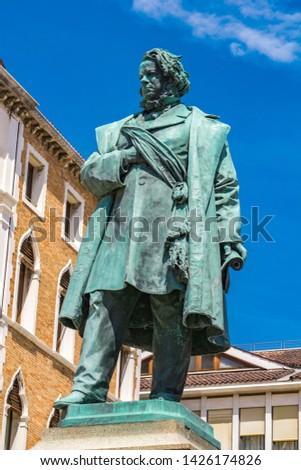 Posąg włoski patriota widoku Wenecja Włochy Zdjęcia stock © boggy