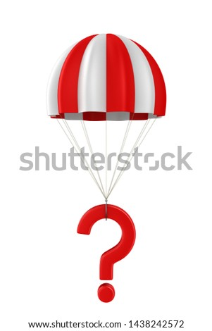 question and parachute on white background. Isolated 3D illustra Stock photo © ISerg