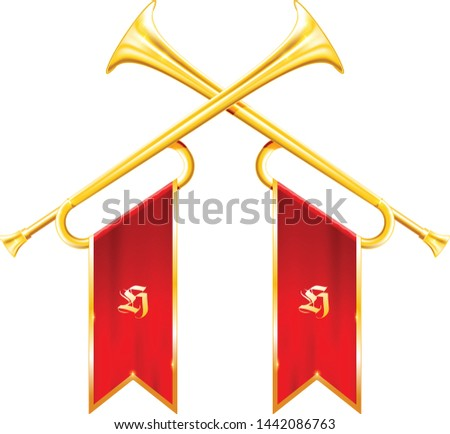 Vintage trumpets or bugles with flags - fanfare of triumph, symb Stock photo © Winner