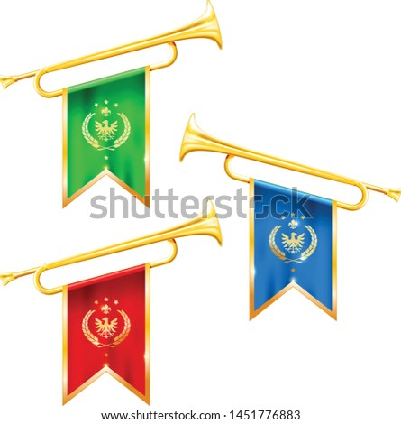 Stock photo: Fanfare trumpets with flags, glory and fame symbol, gold trumpet