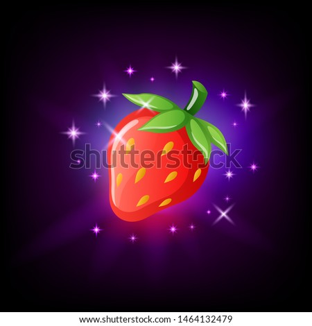 Bright red strawberry with green leaf and seeds, slot icon for online casino or logo for mobile game Stock photo © MarySan