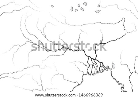 world map of the ganges river valley delta india nepal bengal bangladesh geographic chart stock photo © glasaigh